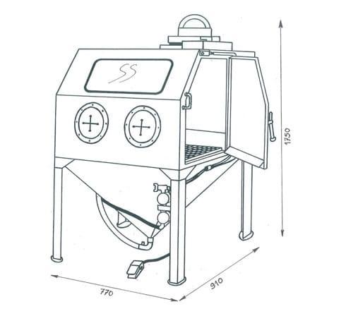 cabine de sablage à manche manuelle d